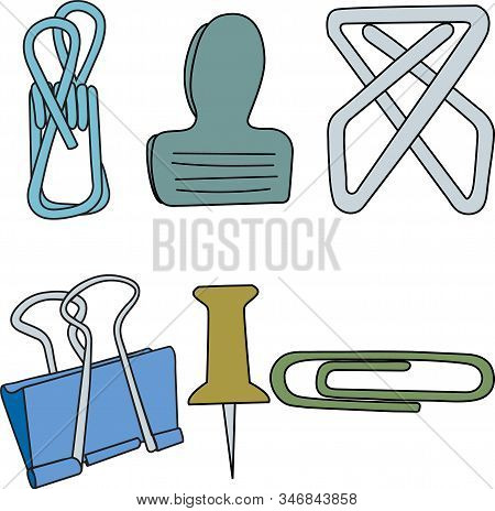 Vector Paper Clips Fasteners Thumb Tacks In Green Yellow Blue Gray Icon Set On White Background. Cli