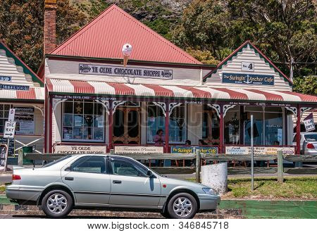 Stanley, Tasmania, Australia - December 15, 2009: Church Street With Ye Olde Chocolate Shoppe And Th