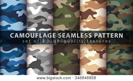 Set Camouflage Military Seamless Pattern. Hand Draw