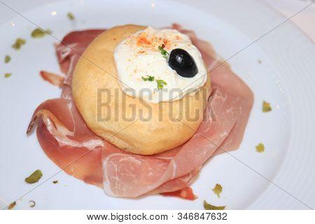 Italian Prosciutto Crudo, Raw Ham, Bread And Cream Cheese