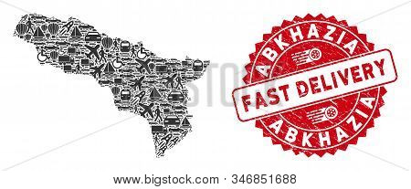 Shipment Collage Abkhazia Map And Distressed Stamp Watermark With Fast Delivery Caption. Abkhazia Ma
