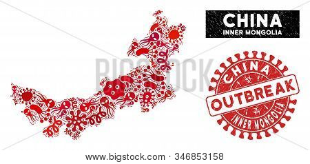Outbreak Collage Chinese Inner Mongolia Map And Red Grunge Stamp Seal With Outbreak Message. Chinese