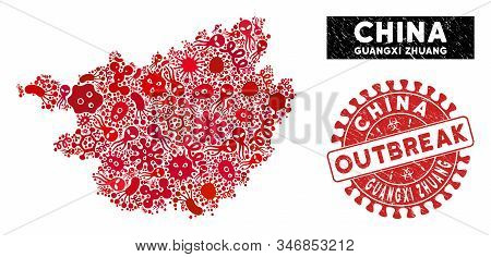 Outbreak Collage Guangxi Zhuang Region Map And Red Rubber Stamp Seal With Outbreak Badge. Guangxi Zh