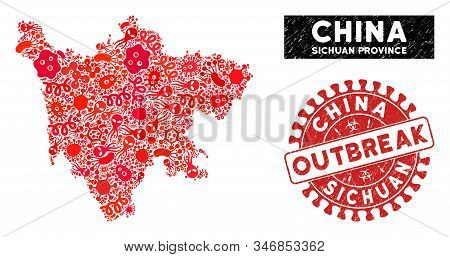 Infectious Collage Sichuan Province Map And Red Corroded Stamp Seal With Outbreak Words. Sichuan Pro