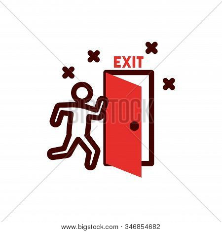 Avatar With Exit Door Design, Emergency Rescue Save Department 911 Danger Help Safety And Aid Theme