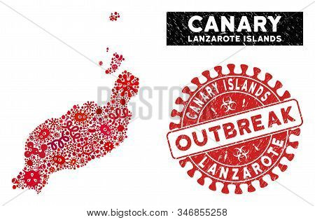 Contagious Collage Lanzarote Islands Map And Red Rubber Stamp Seal With Outbreak Words. Lanzarote Is