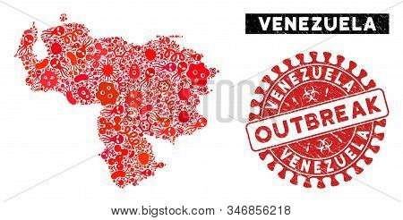 Viral Collage Venezuela Map And Red Grunge Stamp Watermark With Outbreak Text. Venezuela Map Collage