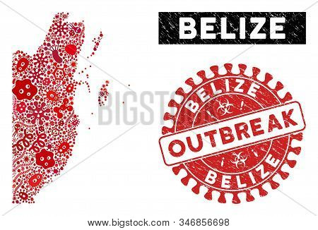 Fever Collage Belize Map And Red Rubber Stamp Seal With Outbreak Text. Belize Map Collage Created Wi