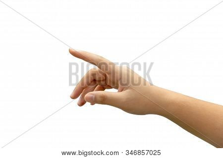 Gesture Of The Hand Showing Touching Virtual Screen Isolated On White Background. Man Hand Pointing