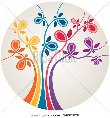 Multicolor abstract tree with. EPS 10 vector illustration. poster