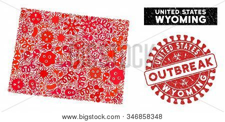 Outbreak Mosaic Wyoming State Map And Red Grunge Stamp Watermark With Outbreak Words. Wyoming State