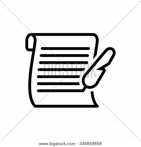 Black Line Icon For Letter Messages Tidings  Text Scenarios  Script Document Manuscript Certificate