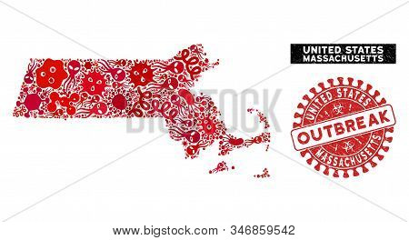 Pandemic Collage Massachusetts State Map And Red Corroded Stamp Watermark With Outbreak Phrase. Mass
