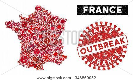 Contagion Collage France Map And Red Grunge Stamp Seal With Outbreak Phrase. France Map Collage Crea