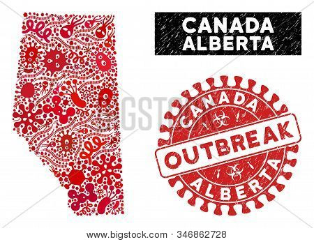 Biohazard Collage Alberta Province Map And Red Grunge Stamp Seal With Outbreak Words. Alberta Provin