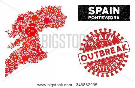 Outbreak Collage Pontevedra Province Map And Red Distressed Stamp Watermark With Outbreak Caption. P