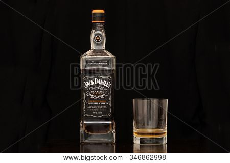Lynchburg, Tennessee, Usa - January 12 2020: Jack Daniels Sinatra Select Tennessee Whiskey In A Bott
