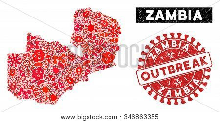 Outbreak Mosaic Zambia Map And Red Distressed Stamp Seal With Outbreak Phrase. Zambia Map Collage Co