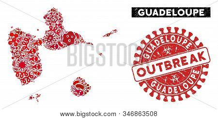 Contagion Mosaic Guadeloupe Map And Red Rubber Stamp Watermark With Outbreak Badge. Guadeloupe Map C