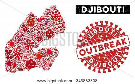 Biohazard Collage Djibouti Map And Red Corroded Stamp Seal With Outbreak Words. Djibouti Map Collage
