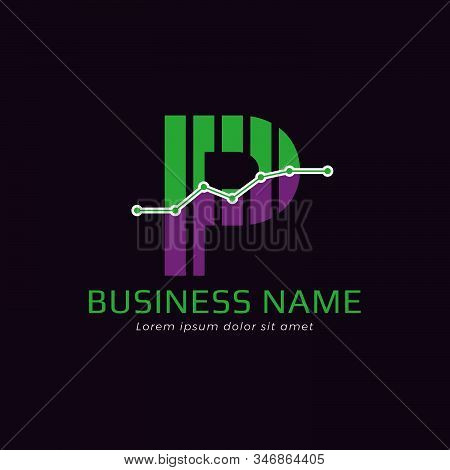 Accounting Logo Template For Finance Business Or Accountant With Alphabetical Letter P And Graphic B