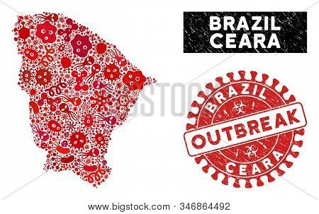 Outbreak Mosaic Ceara State Map And Red Corroded Stamp Watermark With Outbreak Text. Ceara State Map