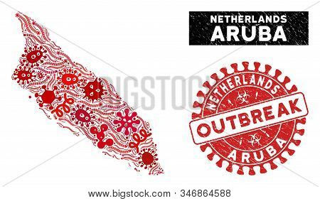 Outbreak Collage Aruba Island Map And Red Rubber Stamp Seal With Outbreak Badge. Aruba Island Map Co
