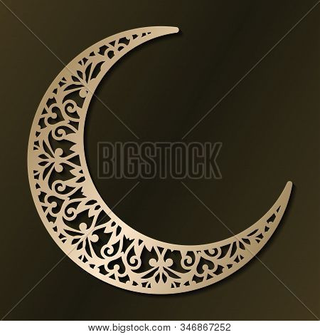 Laser Cut Template For Wedding Invitation Card. Christmas Carved Openwork Half Moon. Graphic Vector