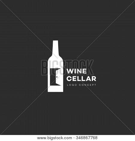Wine Cellar Logo Design Template With Bottle And Door. Vector Illustration.