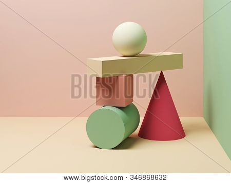 Abstract Equilibrium Still Life Installation Of Colorful Primitive Geometric Shapes. 3d Rendering Il