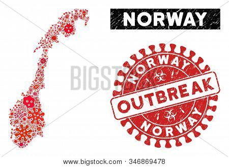 Contagion Collage Norway Map And Red Grunge Stamp Seal With Outbreak Text. Norway Map Collage Create