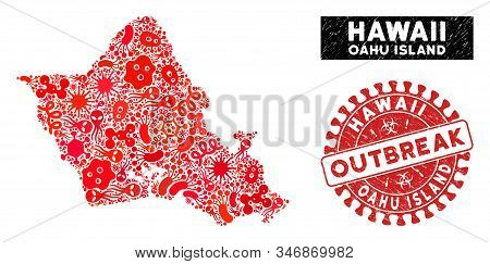 Flu Collage Oahu Island Map And Red Distressed Stamp Watermark With Outbreak Message. Oahu Island Ma