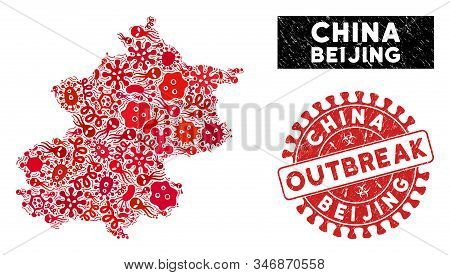 Microbe Collage Beijing City Map And Red Corroded Stamp Seal With Outbreak Phrase. Beijing City Map
