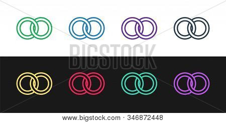 Set Line Wedding Rings Icon Isolated On Black And White Background. Bride And Groom Jewelery Sign. M