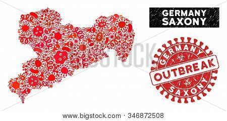 Outbreak Collage Saxony Land Map And Red Grunge Stamp Watermark With Outbreak Badge. Saxony Land Map