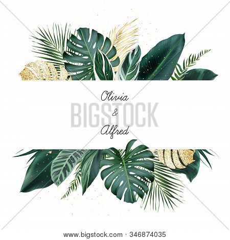 Tropical Banner Arranged From Exotic Emerald And Golden Glitter Leaves. Paradise Plants, Greenery An