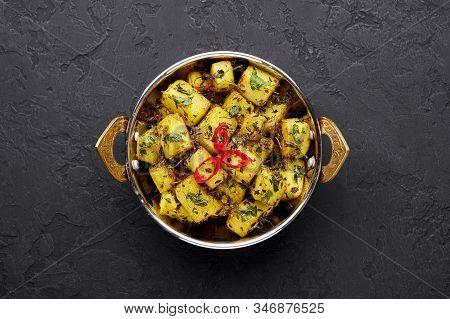 Aloo Methi In Copper Kadai, Bowl At Dark Slate Background. Aloo Methi Is Indian Cuisine Dish With Po