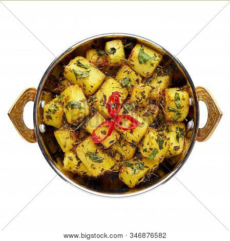 Aloo Methi In Copper Kadai, Bowl Isolated At White Background. Aloo Methi Is Indian Cuisine Dish Wit
