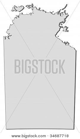 Karta av norra territorium (Australien)