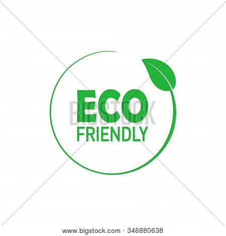 Eco Friendly Green Circle Badge With Tree Leaf. Design Element For Packaging Design And Promotional