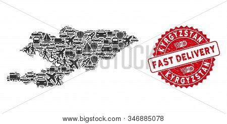Logistics Collage Kyrgyzstan Map And Corroded Stamp Seal With Fast Delivery Text. Kyrgyzstan Map Col