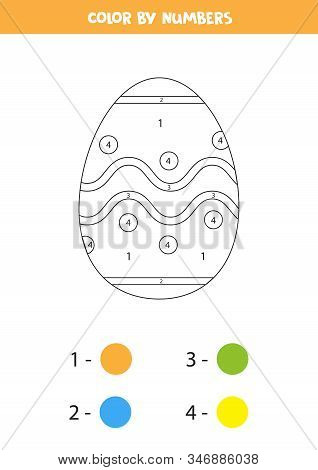 Color Cute Easter Egg By Numbers. Coloring Page For Kids.