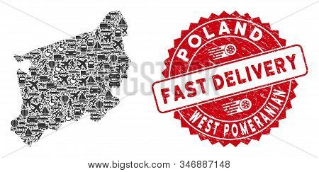 Deliver Collage West Pomeranian Voivodeship Map And Grunge Stamp Seal With Fast Delivery Caption. We