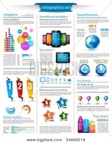 Infographics page with a lot of design elements like chart, globe, icons, graphics, maps, cakes, human shapes and so on. Ideal for business analisys rapresentation.