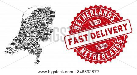 Transport Mosaic Netherlands Map And Distressed Stamp Watermark With Fast Delivery Phrase. Netherlan