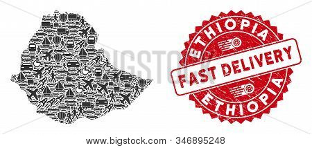 Shipping Collage Ethiopia Map And Rubber Stamp Watermark With Fast Delivery Caption. Ethiopia Map Co