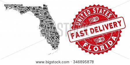 Transportation Collage Florida Map And Grunge Stamp Seal With Fast Delivery Text. Florida Map Collag