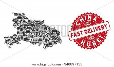 Delivery Collage Hubei Province Map And Corroded Stamp Seal With Fast Delivery Text. Hubei Province