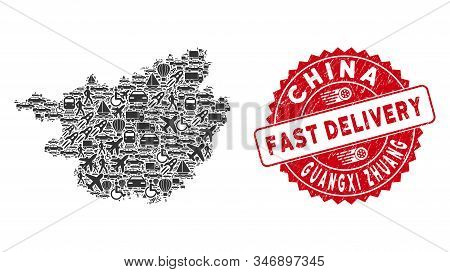 Delivery Collage Guangxi Zhuang Region Map And Corroded Stamp Seal With Fast Delivery Message. Guang