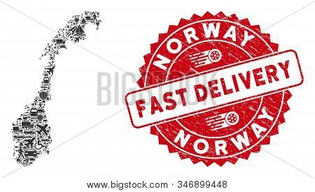 Delivery Mosaic Norway Map And Rubber Stamp Seal With Fast Delivery Badge. Norway Map Collage Constr